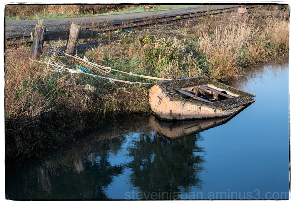 An old boat near Astoria, OR in a Drowned World.