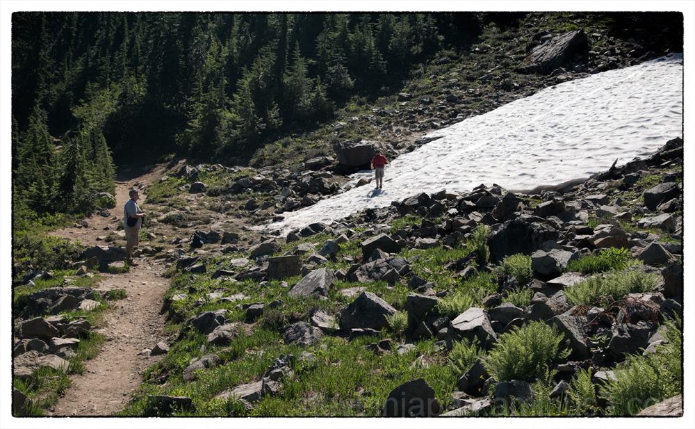 Snow along the Naches Peak Loop Trail.