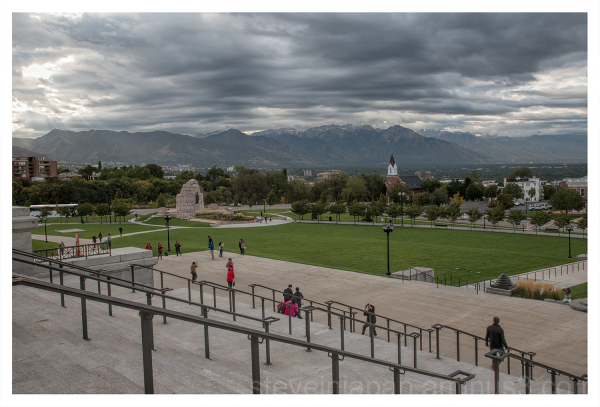 The south lawn of the Utah State Capitol.