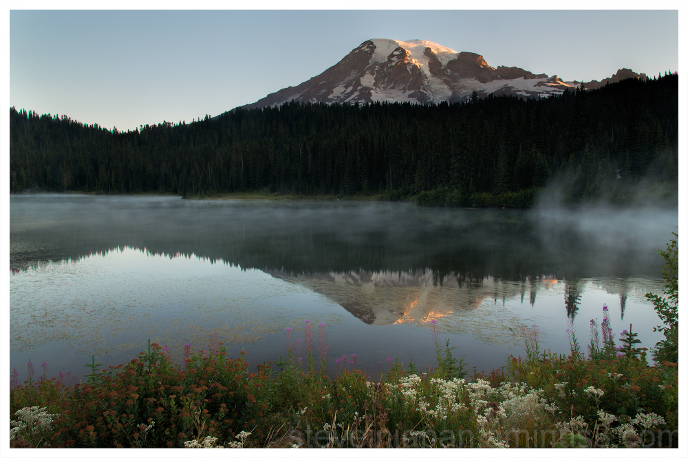 Sunrise at Reflection Lake at Mt. Rainier.