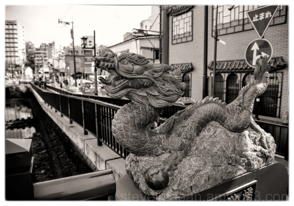 A carved dragon in chinatown in Nagasaki, Japan.