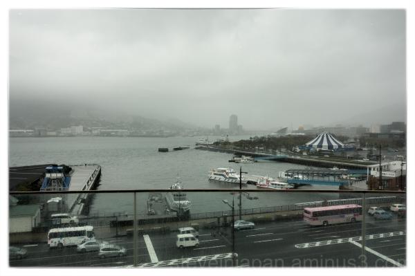 The view of the harbor from Shikairo in Nagasaki.