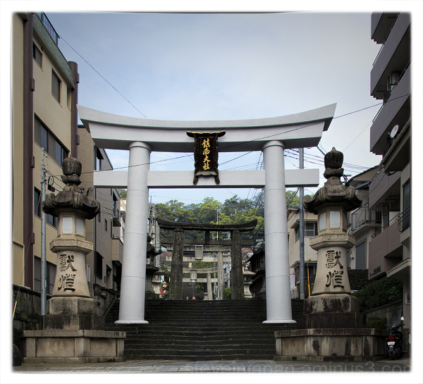 Toriis at Suwa Shrine in Nagasaki, Japan.