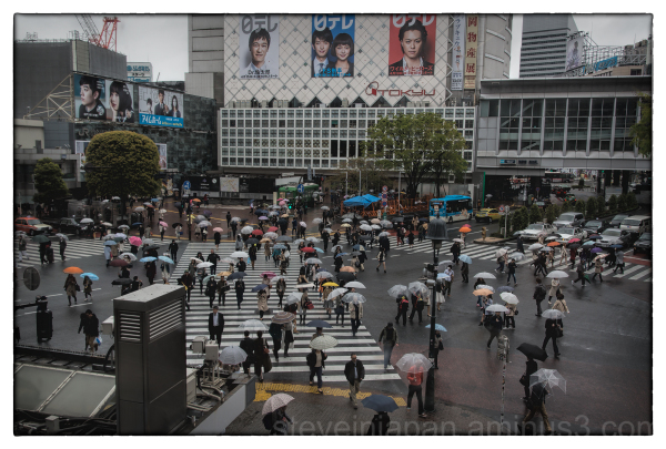 Shibuya Crossing in the rain.
