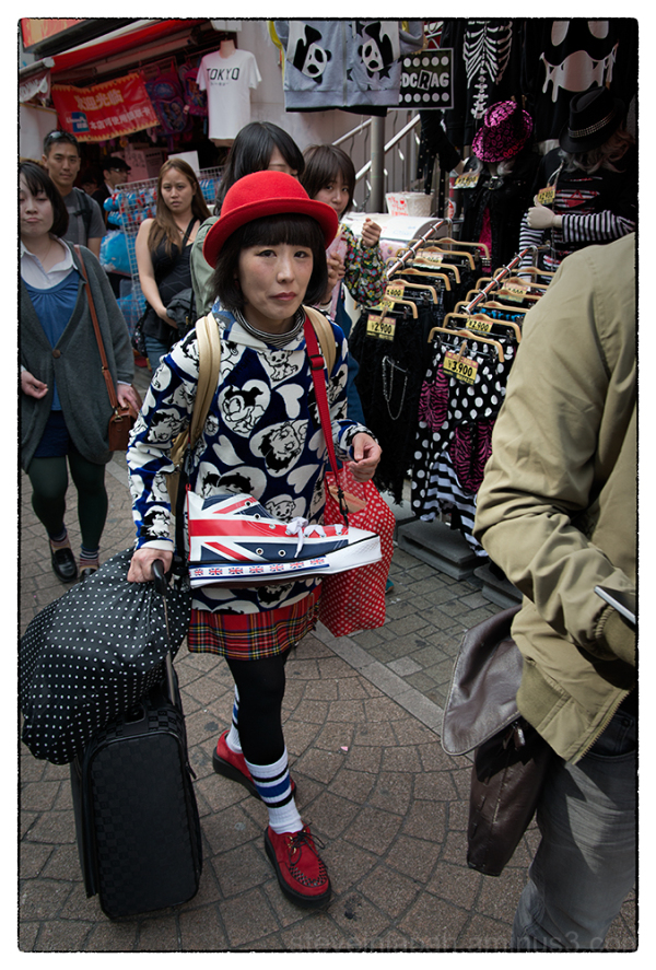 Scenes along Takeshita-dori in Tokyo, Japan.