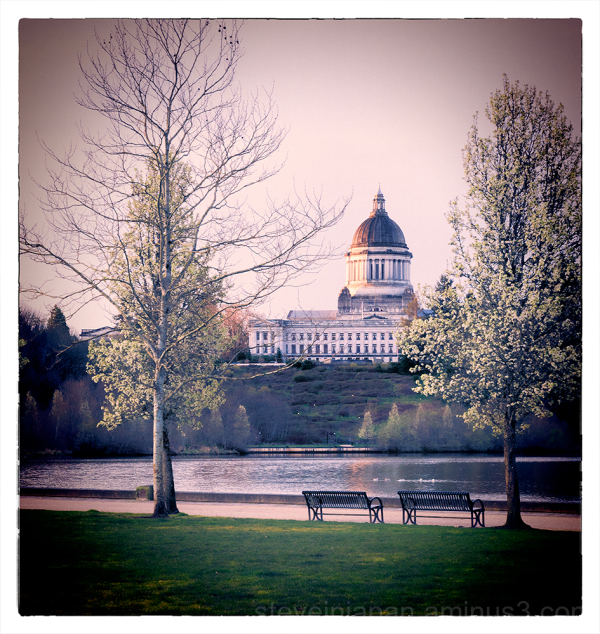 The Capitol and Capitol Lake in Olympia, WA.