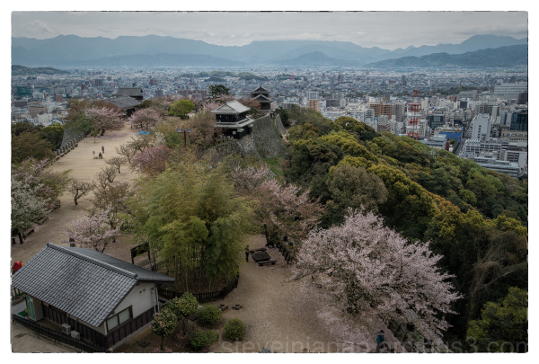 The view from the main tower of Matsuyama Castle.