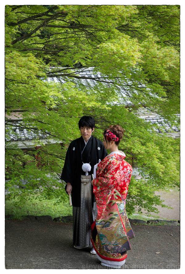 A wedding photo shoot near Matsuyama Castle.