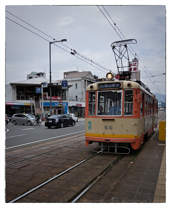 A street car on a route in Matsuyama, Japan.