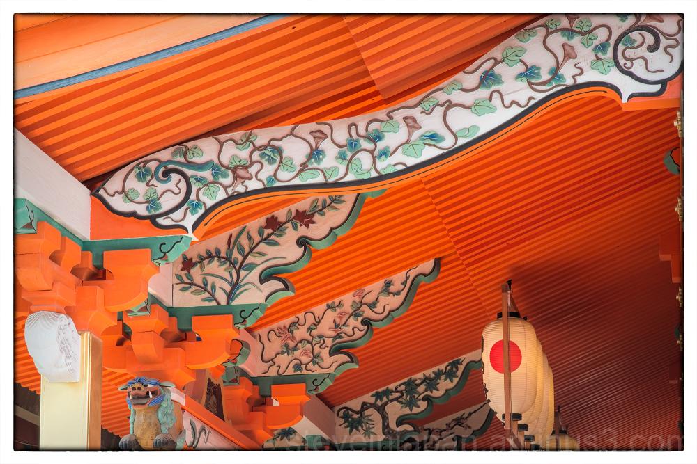 Under the eaves at Isaniwa-jinja.
