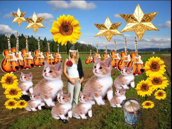 girl in field with guitars and kittens