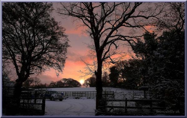 snow sunrise car work bronzebilly