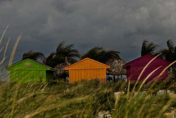 colorful sheds at the beach