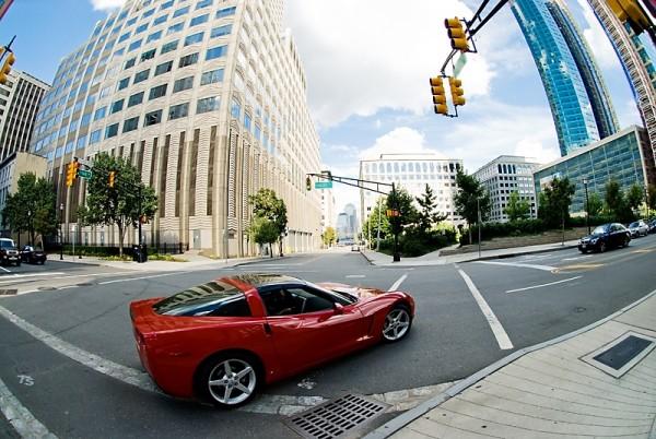 Red Corvette on an Urban Jersey City Street