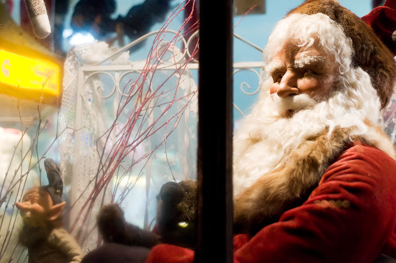 Santa looking out the window