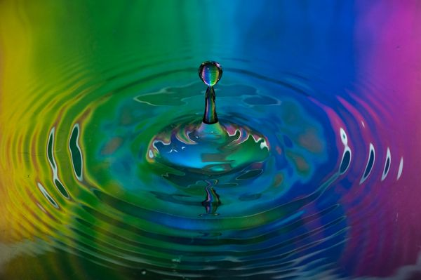water droplet and rainbow
