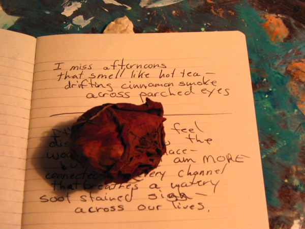 Dried red rose metaphor