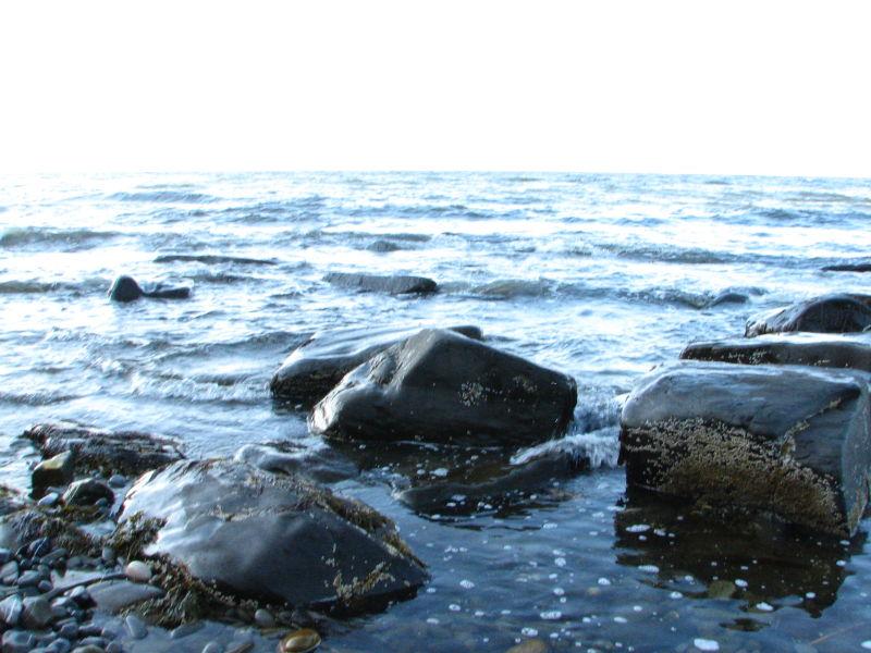 rocks in blue water