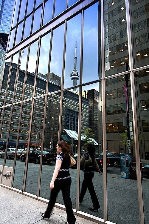 CN Tower and pedestrian
