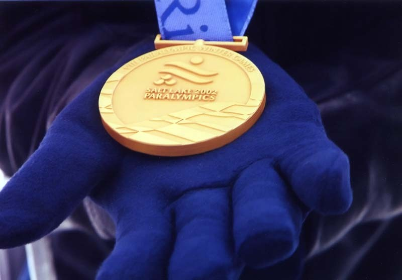 Closeup of gold medal