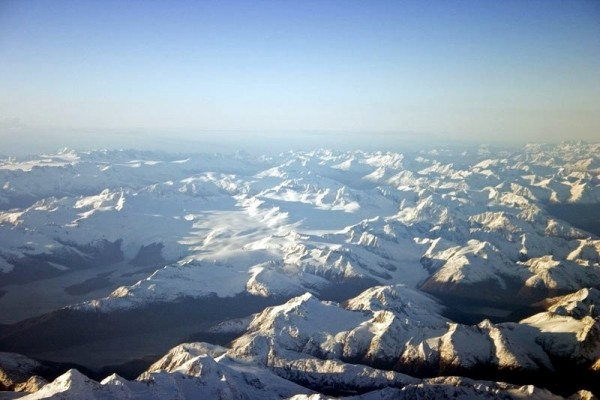 Aerial shot of Chugach Mountains, Alaska