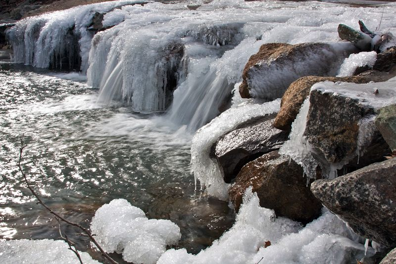 Frozen stream waterfall