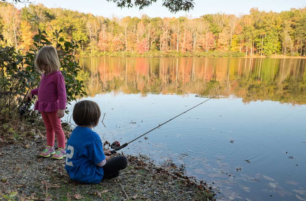 Two girls fishing