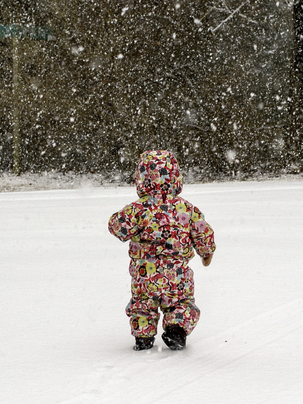 First walk in a snowstorm
