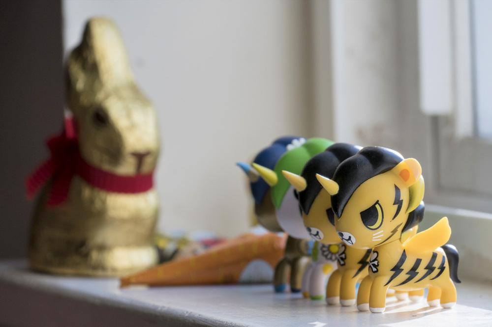 Unicorns and chocolate bunny