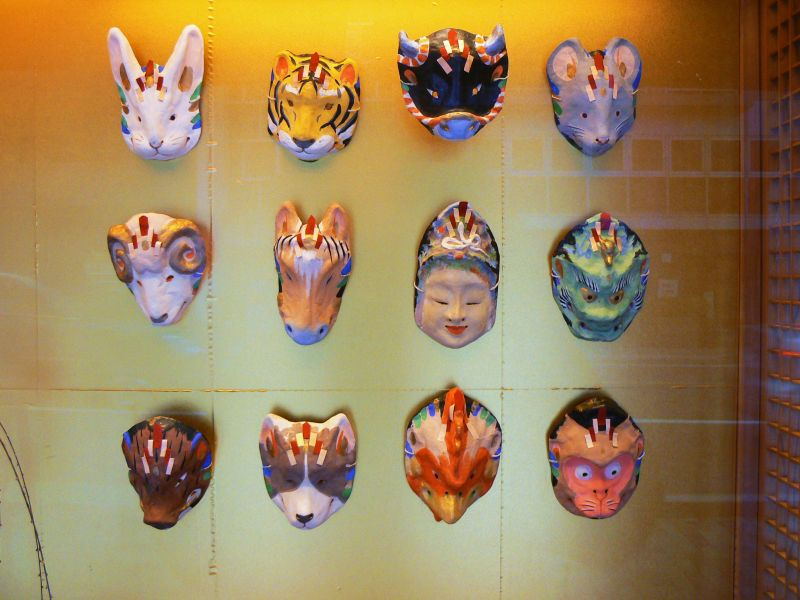 Mask display in a shop window