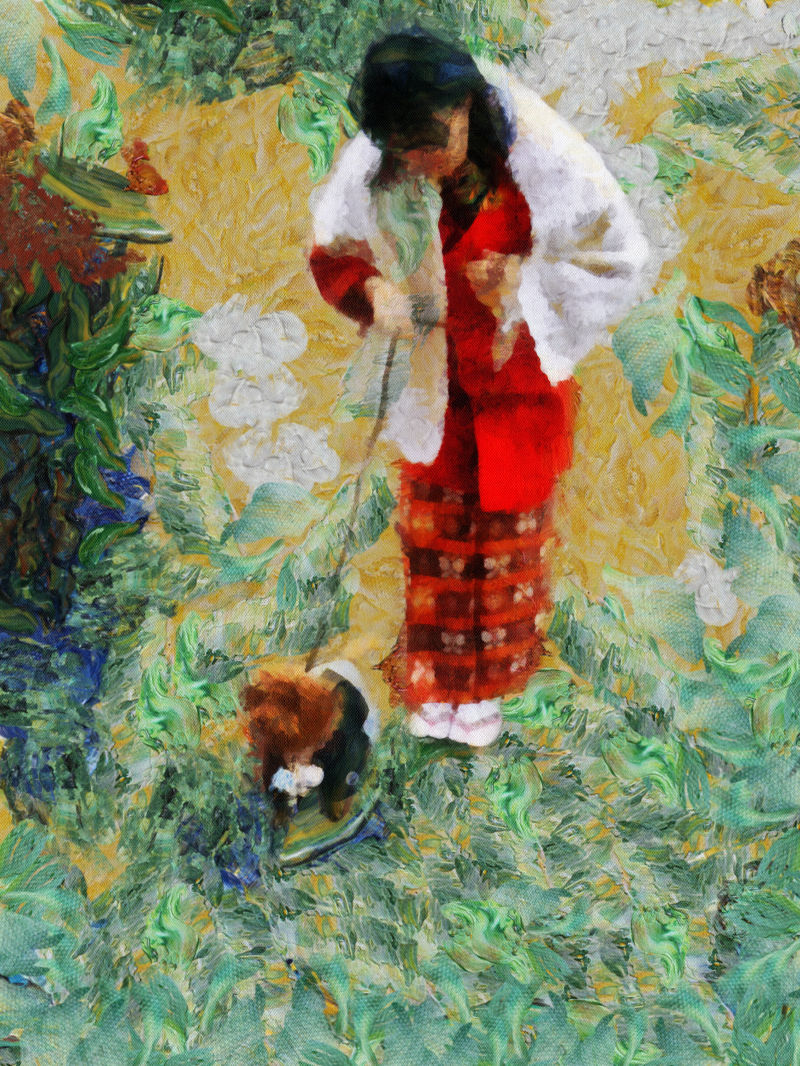 Woman in Kimono with dog