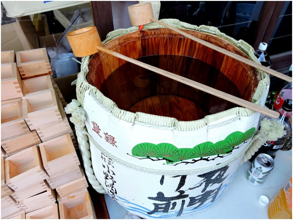 Looking into a sake barrel