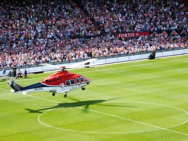 Helicopter landing in Stadion 'De Kuip' Rotterdam.