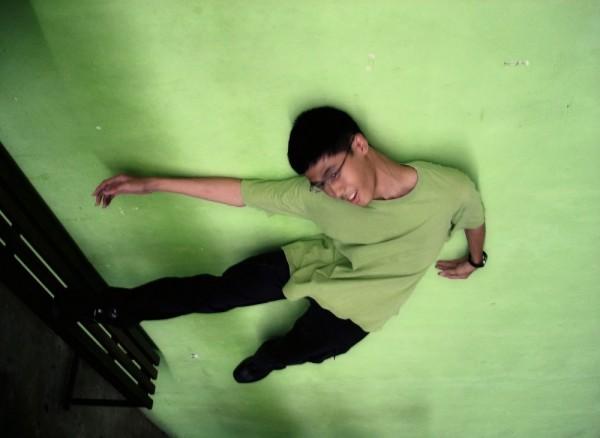 green environmental shirt pose and cool