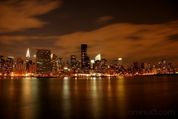illuminated skyline on Manhattan