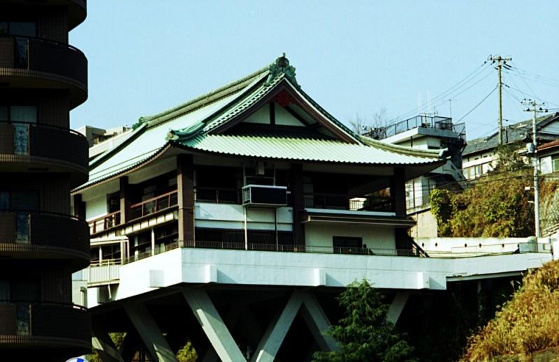 Buddhist temple on stilts in Yokohama