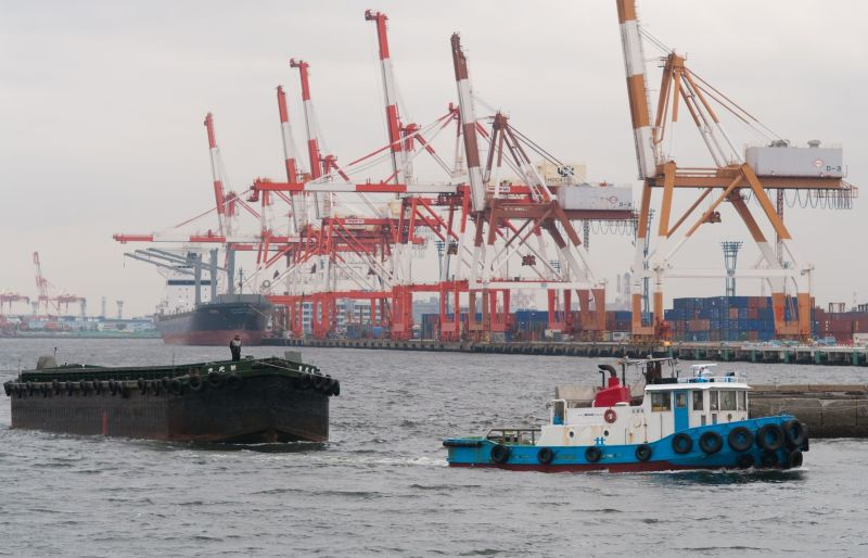 Tugboat and Barge (Yokohama)