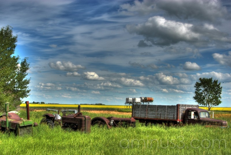 HDR tractors Truck Farm Sask abandoned