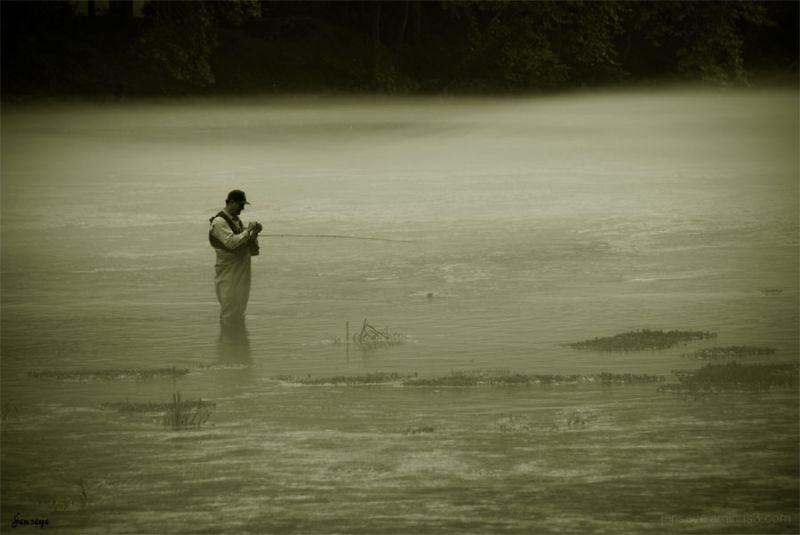 Fly Fishing Chattahoochee River Gerogia Mist Fog