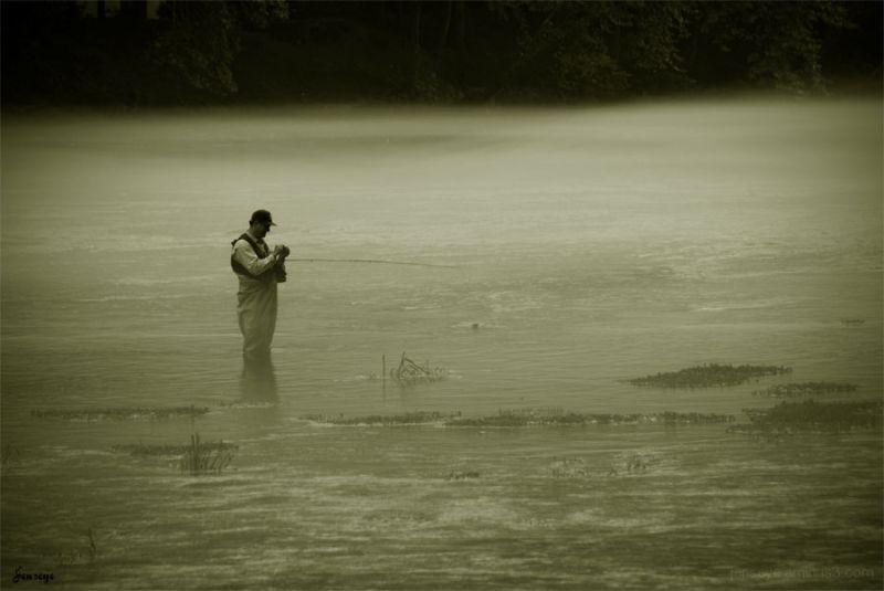 Fly Fishing Chattahoochee River Gerogia Mist Fog