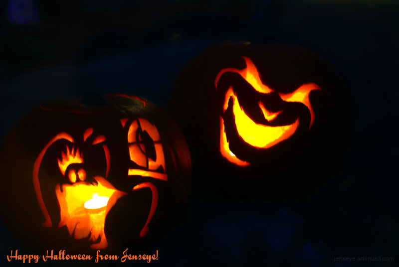 Desing Carved Pumpkins Orange Red Black Halloween