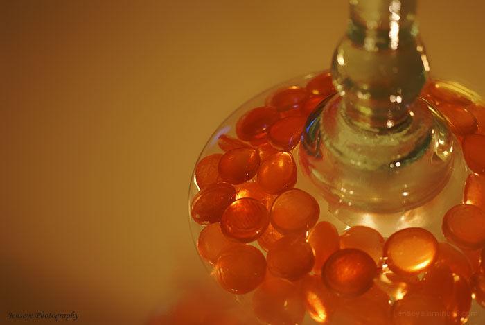 Art Orange Stones Light Candle Mirror