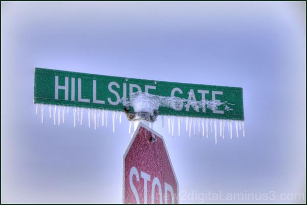 Iced Street Sign