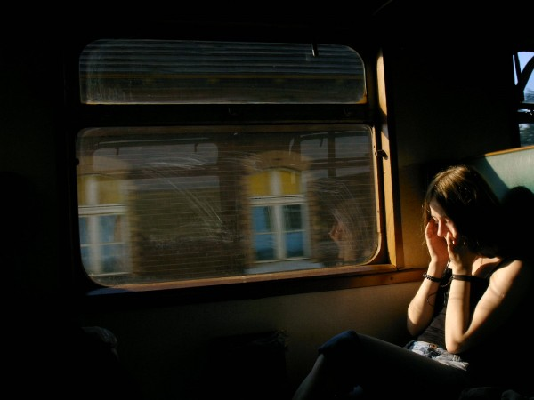 girl sitting in a train
