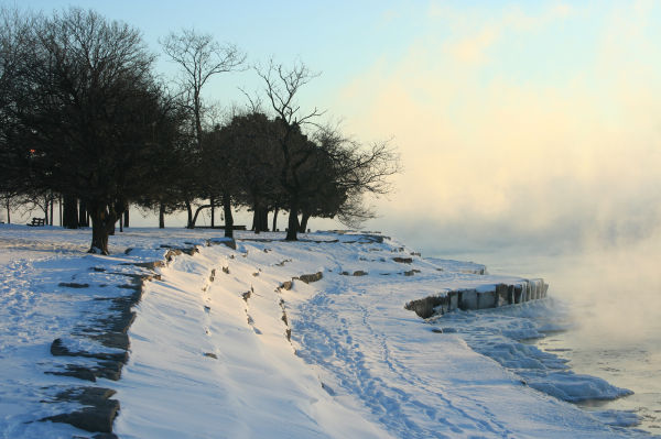 Steam rises off Lake Michigan on Frigid Day