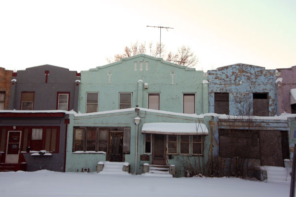 Concrete row houses in Gary, Indiana