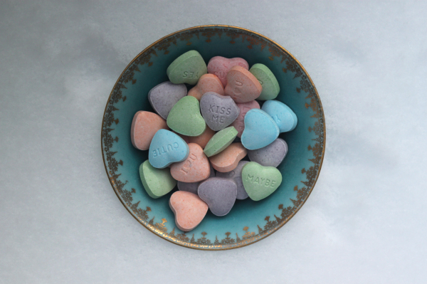 Heart shaped candy in a dish