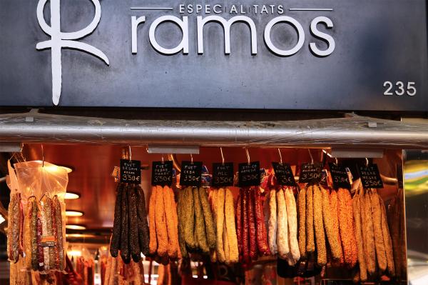 Sausage vendor in Barcelona, Spain