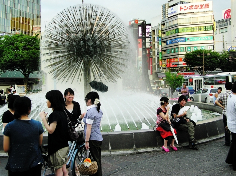 Okayama station fountain japan