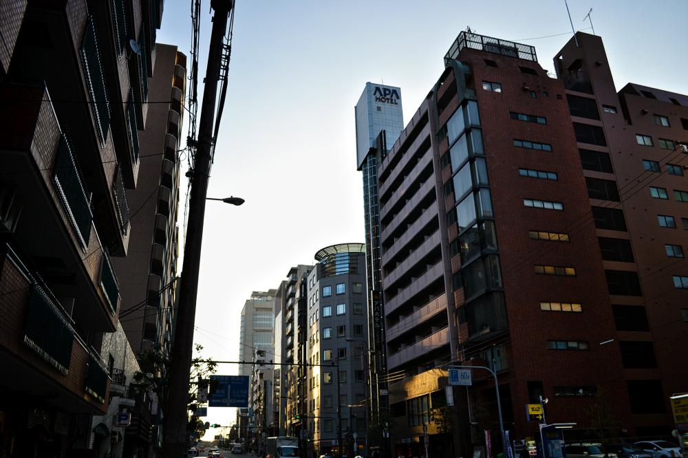 osaka umeda japan street building sunset